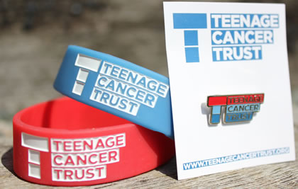 Teenage Cancer Trust wrist-bands and enamel badge